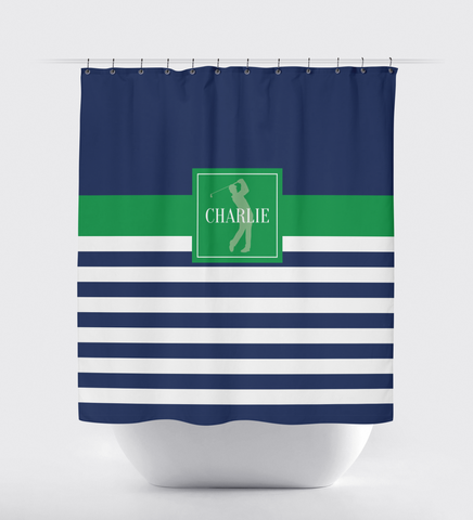 Golf Shower Curtain - Preppy Rugby Striped Pattern - Boys, Teens, Kids - Mens Golf Team Gift - Golf Themed Bathroom Decor for Male Golfers - Navy Blue, Green, White