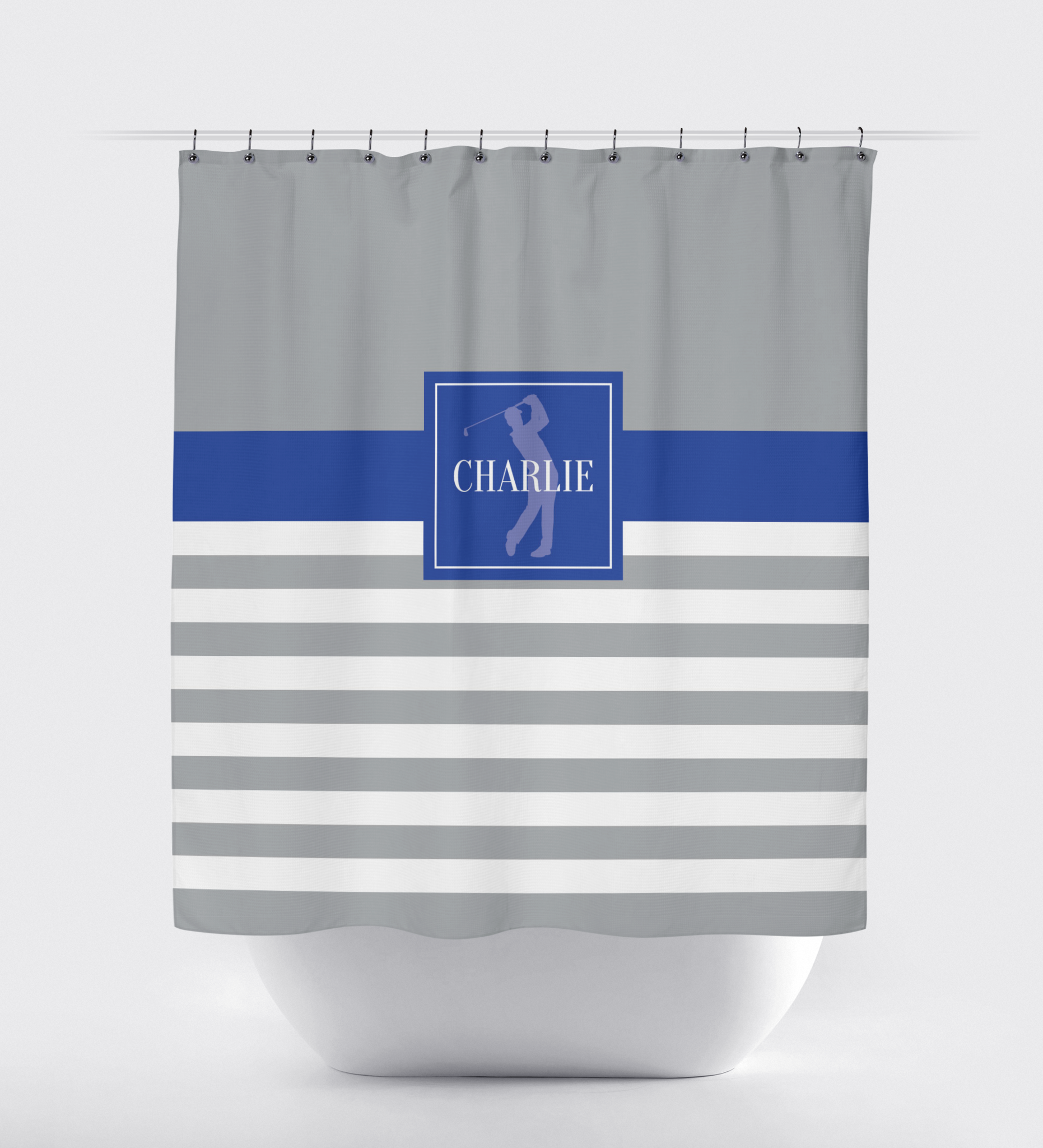 Blue And Green Striped Shower Curtain -  golf shower curtain preppy rugby striped pattern boys teens kids mens