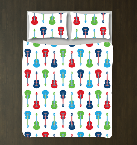 Custom Guitar Bedding Set - Duvet Cover and Shams - Kids, Teens, Boys, Girls, Children - Musicians - Singers - Band - Personalized Music Themed Bedroom Decor - College Dorm Room - White, Navy, Red, Turquoise, Light Green