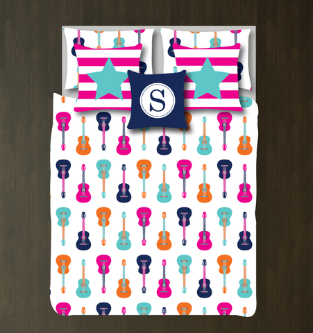 Custom Guitar Bedding Set - Duvet Cover and Shams - Kids, Teens, Boys, Girls, Children - Musicians - Singers - Band - Personalized Music Themed Bedroom Decor - College Dorm Room - White, Hot Pink, Pool, Carrot Orange, Navy Blue