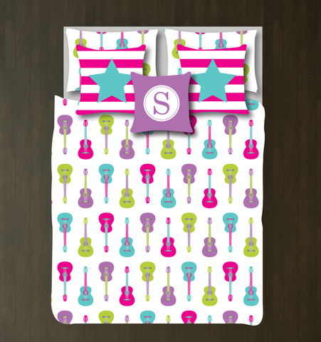 Custom Guitar Bedding Set - Duvet Cover and Shams - Kids, Teens, Boys, Girls, Children - Musicians - Singers - Band - Personalized Music Themed Bedroom Decor - College Dorm Room - White, Hot Pink, Pool, Radiant Orchid, Lime Green