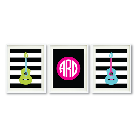 Monogrammed Guitar Wall Art Print Set for Girls and Teens - Music Themed, Musicians, Performers, Band - Guitar Room Decor for Kids, Children and Teenagers - White, Hot Pink, Pool, Bright Chartreuse, Black
