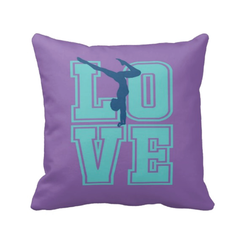 LOVE Gymnastics Pillow for Female Gymnasts - Girl and Teens - Kids and Children - Sports Gift - Purple, Pool, Blue