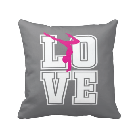 LOVE Gymnastics Pillow for Female Gymnasts - Girl and Teens - Kids and Children - Sports Gift - White, Charcoal Grey, Hot Pink