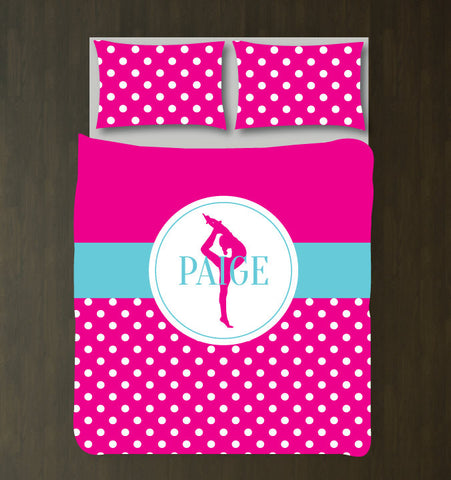 Custom Gymnastics Duvet Set - Gymnast Bedding - Sports Gift for Girls - Hot Pink and Aqua