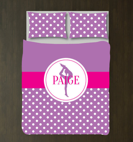 Custom Gymnastics Duvet Set - Gymnast Bedding - Sports Gift for Girls - Hot Pink and Purple