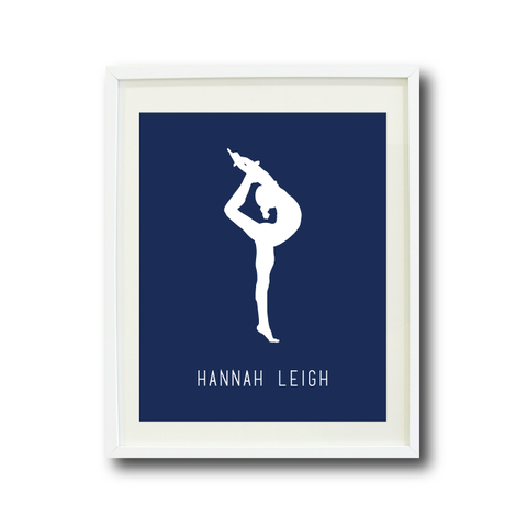 Gymnastics Wall Art Print - Gymnast Silhouette - Sports Gift for Girls - White and Navy Blue