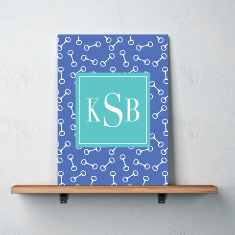 Horse Bit Custom Gallery Wrapped Canvas with Personalized Monogram for Girls - Teen Equestrian Gift - Horse Bedroom Decor - White, Periwinkle Blue, Pool