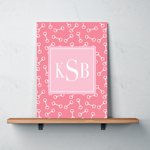 Horse Bit Custom Gallery Wrapped Canvas with Personalized Monogram for Girls - Teen Equestrian Gift - Horse Bedroom Decor - White, Light Pink, Bubble Gum Pink