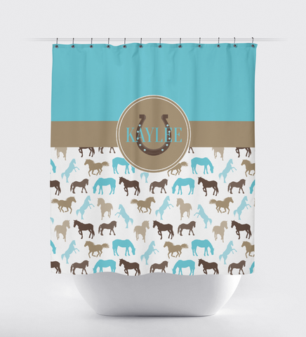 Monogrammed Horse Shower Curtain for Boys and Girls - Custom Equestrian Gift for Teens - Aqua Blue, Brown and Tan