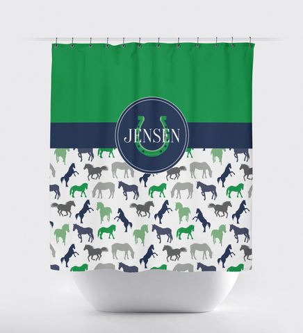 Monogrammed Horse Shower Curtain for Boys and Girls - Custom Equestrian Gift for Teens - Navy Blue, Grey, Green