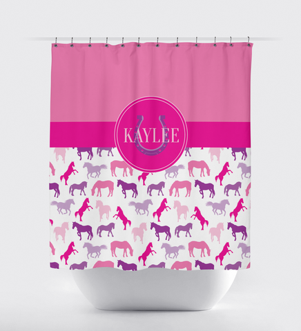 Monogrammed Horse Shower Curtain for Boys and Girls - Custom Equestrian Gift for Teens - Purple, Pink, Hot Pink, Lavender