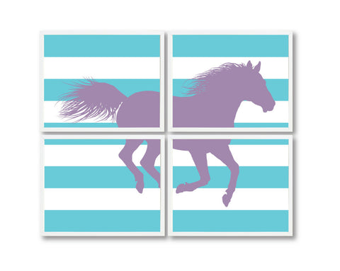 Custom Horse Wall Art Prints - Equestrian Decor for Girls Bedroom or Dorm Room - Purple and aqua