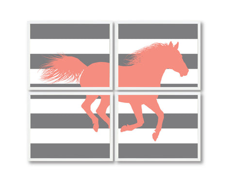 Custom Horse Wall Art Prints - Equestrian Decor for Girls Bedroom or Dorm Room - Grey and Coral