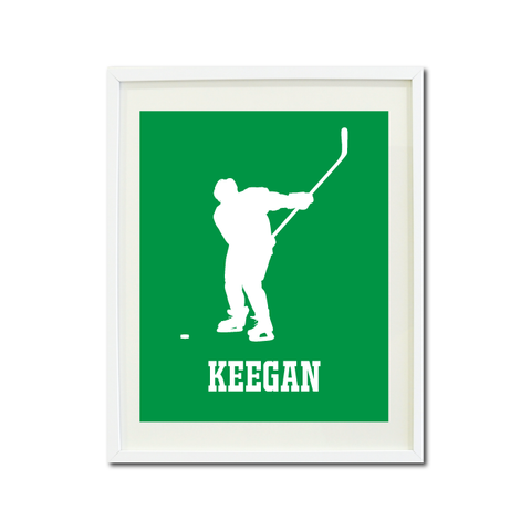 Boys Ice Hockey Art Print - Ice Hockey Player - Sports Gift for Teens and Kids - White and Green