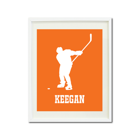 Boys Ice Hockey Art Print - Ice Hockey Player - Sports Gift for Teens and Kids - White and Carrot Orange