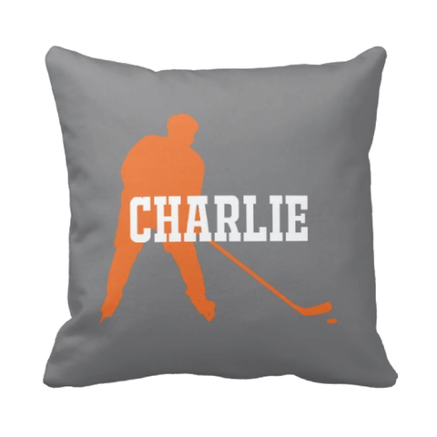 Personalized Ice Hockey Pillow for Boys - Silhouette and Monogrammed Name - Sports Gift for Kids and Teens - White, Titanium Grey, Carrot Orange