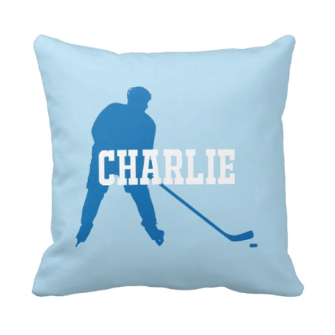 Personalized Ice Hockey Pillow for Boys - Silhouette and Monogrammed Name - Sports Gift for Kids and Teens - White, Dazzling Blue, Light Blue
