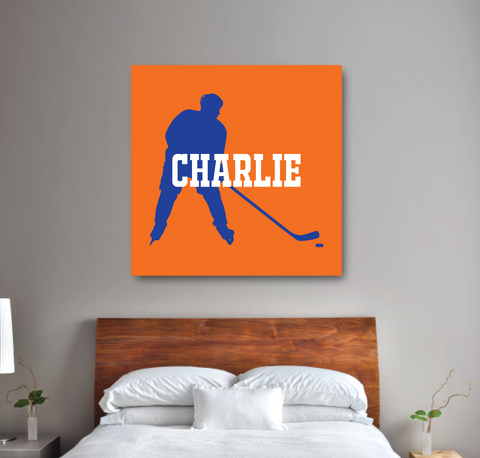 Personalized Ice Hockey Player Silhouette Gallery Wrapped Canvas for Boys - Hockey Player- Teen Room Decor - College Dorm Room - White, Carrot Orange, Royal Blue