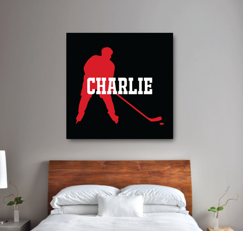 Personalized Ice Hockey Player Silhouette Gallery Wrapped Canvas for Boys - Hockey Player- Teen Room Decor - College Dorm Room - White, black and red