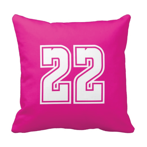 Custom Jersey Number Throw Pillows for Kids - Girls and Boys Sports Room Decor - Sports Bedding for Teen Bedroom - White and Hot Pink