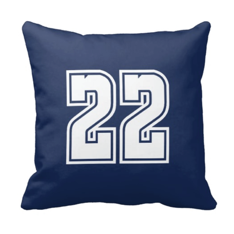 Custom Jersey Number Throw Pillows for Kids - Girls and Boys Sports Room Decor - Sports Bedding for Teen Bedroom - White and Navy