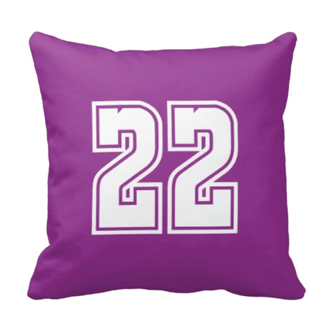 Custom Jersey Number Throw Pillows for Kids - Girls and Boys Sports Room Decor - Sports Bedding for Teen Bedroom - White and Purple