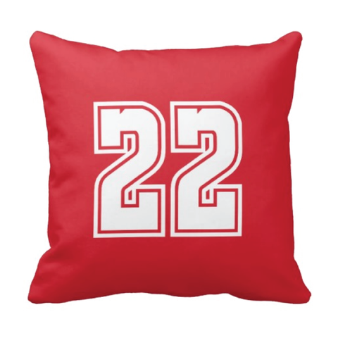 Custom Jersey Number Throw Pillows for Kids - Girls and Boys Sports Room Decor - Sports Bedding for Teen Bedroom - White and Red