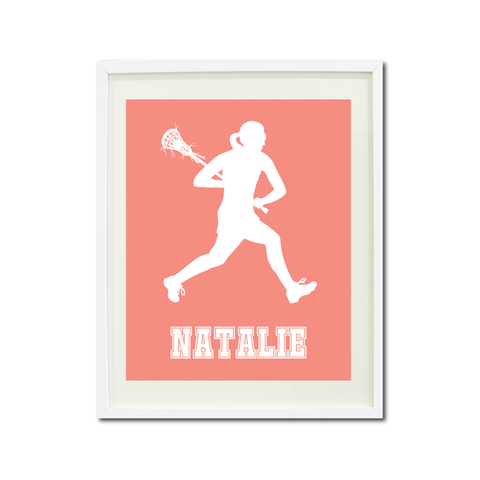 Lacrosse Player Wall Art Print for Girls - Monogrammed Art Print for Teens - Sports Gift for Kids - White and Coral