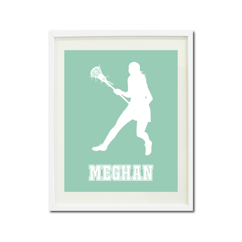 Lacrosse Player Wall Art Print for Girls - Monogrammed Art Print for Teens - Sports Gift for Kids - White and Grayed Jade