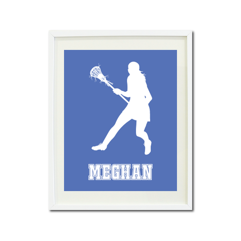 Lacrosse Player Wall Art Print for Girls - Monogrammed Art Print for Teens - Sports Gift for Kids - White and Periwinkle