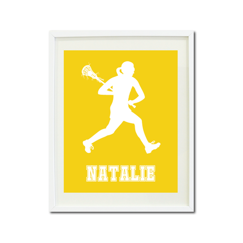 Lacrosse Player Wall Art Print for Girls - Monogrammed Art Print for Teens - Sports Gift for Kids - White and Yellow
