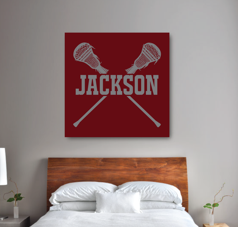 Lacrosse Canvas with Name | Boys LAX | Burgundy and Titanium | Choose ANY Colors
