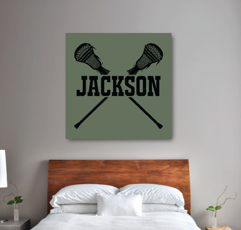 Personalized Lacrosse Gallery Wrapped Canvas for Boys - lax sticks - Sports Team Gift for Teens- College Dorm Room - Black, Deep Linchen Green