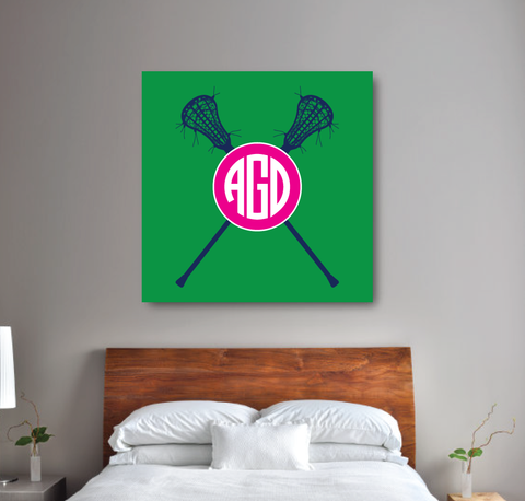 Personalized Lacrosse Gallery Wrapped Canvas for Girls - lax sticks - Sports Team Gift for Teens- College Dorm Room - White, Hot Pink, Navy Blue, Green