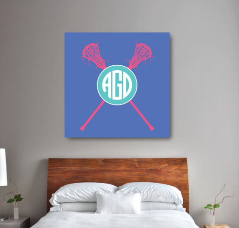 Personalized Lacrosse Gallery Wrapped Canvas for Girls - lax sticks - Sports Team Gift for Teens- College Dorm Room - White, Periwinkle Blue, Pool, Bubble Gum Pink