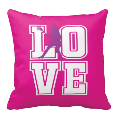 Lacrosse LOVE Throw Pillow for Girls and Teens - Custom LAX Bedroom Decor for Kids - Children's Bedding - White, Hot Pink, Purple