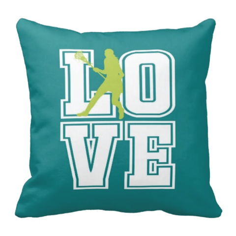 Lacrosse LOVE Throw Pillow for Girls and Teens - Custom LAX Bedroom Decor for Kids - Children's Bedding - White, Teal, Lime Green