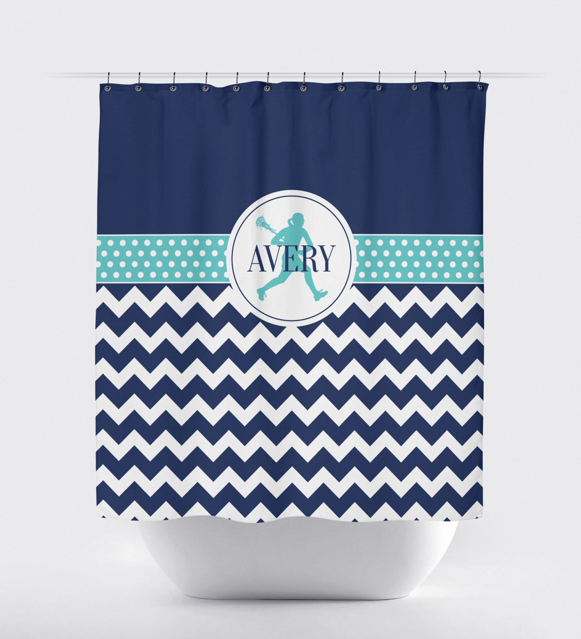 Custom Lacrosse Shower Curtain   Chevron and Polka Dots   LAX Player Gift  for Girls and  Custom Lacrosse Themed Shower Curtain for Girls   LAX   Shop  . Navy Blue And White Shower Curtain. Home Design Ideas