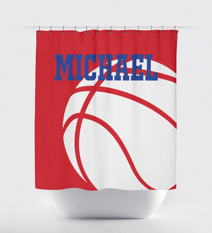 Basketball Shower Curtain - Basketball Player - Boys and Girls - Teens - White, Red, Royal Blue