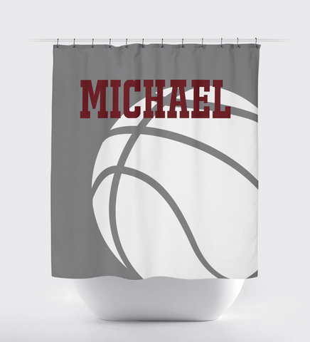 Basketball Shower Curtain - Basketball Player - Boys and Girls - Teens - White, Titanium Grey, Burgundy