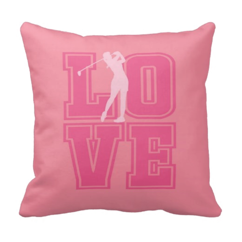 LOVE Golf Silhouette Throw Pillow for Girls - Teen Girl Golfer Bedroom Decor - College Dorm Room - Bubble Gum Pink, Light Pink