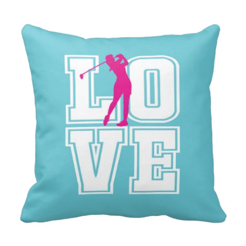 LOVE Golf Silhouette Throw Pillow for Girls - Teen Girl Golfer Bedroom Decor - College Dorm Room - Aqua, White, Hot Pink