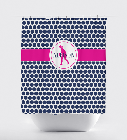 Custom Basketball Player Shower Curtain with Polka Dots - Custom Gift for Girls and Teens - Kids and Children - Personalized - Basketball Player - Sports Team - White, Navy Blue, Hot Pink