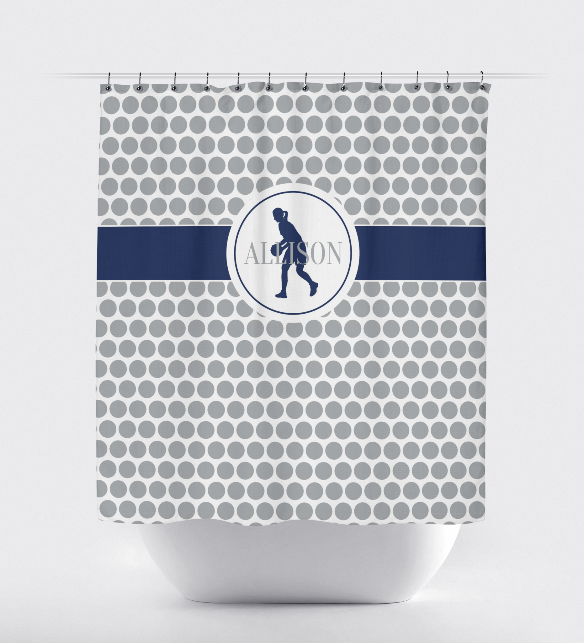 Custom Basketball Player Shower Curtain With Polka Dots
