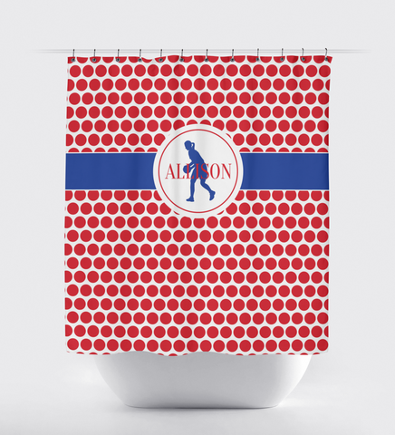 Custom Basketball Player Shower Curtain with Polka Dots - Custom Gift for Girls and Teens - Kids and Children - Personalized - Basketball Player - Sports Team - White, Red, Royal Blue