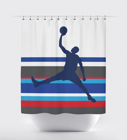 Custom Basketball Shower Curtain for Boys and Teens - Sports Bathroom Decor - Striped - Navy Blue, Grey, Royal Blue, Red, Black and White