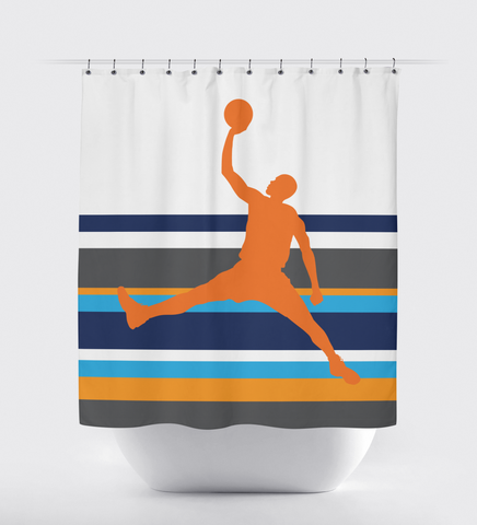Custom Basketball Shower Curtain for Boys and Teens - Sports Bathroom Decor - Striped - Navy Blue, Orange, Turquoise, and White