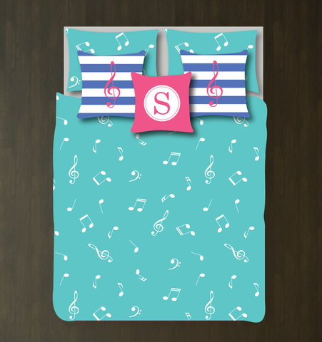Custom Music Note Bedding Set - Duvet Cover and Shams - Kids, Teens, Boys Girls, Children - Musicians - Singers - Band - Orchestra - Personalized Music Themed Bedroom Decor - College Dorm Room - Pool, Bubble Gum Pink, Periwinkle Blue