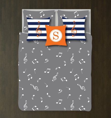 Custom Music Note Bedding Set - Duvet Cover and Shams - Kids, Teens, Boys Girls, Children - Musicians - Singers - Band - Orchestra - Personalized Music Themed Bedroom Decor - College Dorm Room - Grey, Orange, Navy Blue